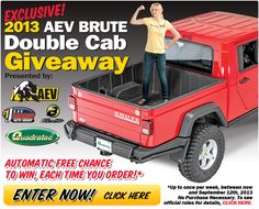 Yup, Quadratec is giving away another Jeep! This time it's a AEV Brute Double Cab!   You can enter here - http://www.quadratec.com/brutegiveaway/