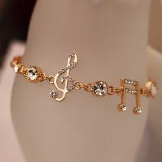 Buy music bracelet at Wish - Shopping Made Fun Music Jewelry, Hand Jewelry, Cute Jewelry, Bridal Jewelry, Jewelry Accessories, Women Jewelry, Jewelry Design, Jewellery, Fashion Bracelets