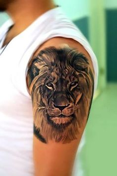 Black and gray lion's head half sleeve. Style: Black and Gray. Color: Black. Tags: Best, Beautiful, Awesome