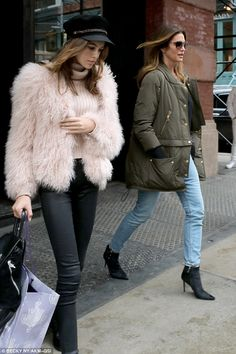 Making a statement: She went for a bold look with a fluffy pink jacket over the top of her outfit