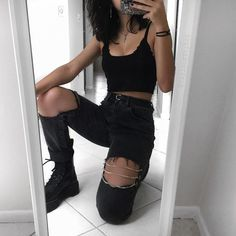 back to all black for a sec 🙃🖤 tell me your current favorite song! Mine is nico and the niners by tøp of course 🤷🏻♀️ edgy outfits Hipster Outfits, Cute Casual Outfits, Boho Outfits, Fashion Outfits, Cute Grunge Outfits, Grunge Clothes, Soft Grunge Clothing, Goth Girl Outfits, Edgy Summer Outfits