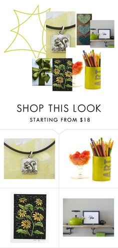 """""""Bright Green"""" by crsevier ❤ liked on Polyvore featuring GREEN, etsy, squirrel, art and bright"""