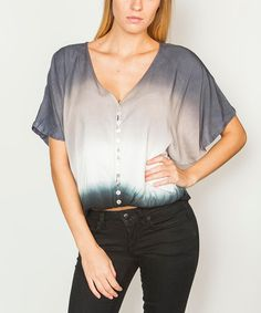 Loving this Black Button V-Neck Cape-Sleeve Top on #zulily! #zulilyfinds