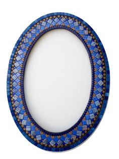 Blue and Copper Mosaic Wall Mirror Oval by GreenStreetMosaics