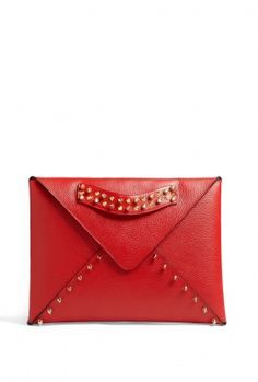 Red Edgy Envelope Clutch With Gold Plated Studs by AILA
