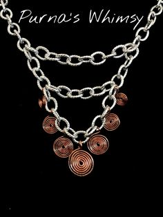 Bold Three Tier Two Tone Spiral Necklace - Purna's Whimsy