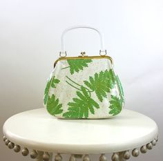 Vintage 50s Handbag White w Green Leaves Gold by foreveracharm