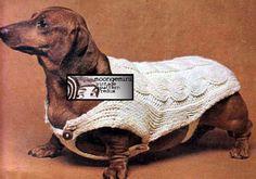 PDF Cable Stitch Dachshund Dog Sweater Blanket Coat by Moongemini