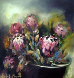 isabel naude Art Painting, Flower Photography Art, Pastel Art, Flower Art Painting, Art Painting Oil, Botanical Art, Protea Art, South African Art, South African Artists