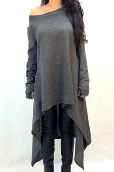 Love Love Loe this Dress over Black Leggings! Slash Neck Irregular Hem Loose Dress #Sexy #Casual #Grey #Knit  #Off_Shoulder #Assymetrical #Hem #Dress #Fashion