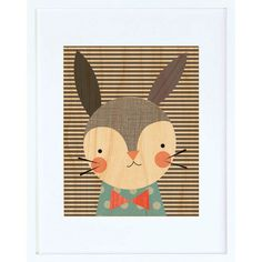 Dapper Rabbit Framed Print - $44.00  Printed on sustainably harvested maple veneer and framed in a modern white hardwood frame. Includes a glass front and comes ready to hang.