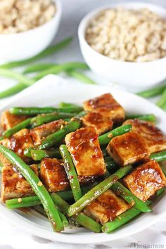This Tofu Green Bean Stir Fry is easy to make, healthy, and delicious. It's vegan, gluten-free, and doesn't contain MSG. Have the takeout without the guilt! Vegan Dinner Recipes, Vegan Dinners, Whole Food Recipes, Cooking Recipes, Healthy Recipes, Healthy Tofu Recipes, Tofu Meals, Recipes With Tofu Stir Fry, Microwave Recipes