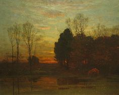 """""""Tranquility at Sunset,"""" John J. Enneking, 1879, oil on canvas, 31 1/2 x 39 1/4"""", Vose Galleries."""