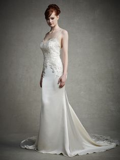 Cheap Classic Elegant Sheath/Column Spaghetti Straps Beading&Sequins Lace Sweep/Brush Train Wedding Dress Free Measurement