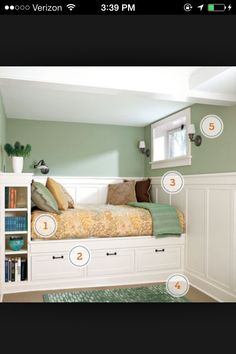 Built in bed with storage.  Nice idea for basement bedroom.