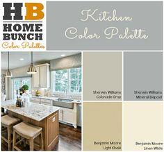 Kitchen Color Palette. Sherwin Williams Colonade gray, Sherwin Williams Mineral Deposite. Benjamin Moore Light Khaki. Benjamin Moore Linen White. #ColorPalette #ColorScheme #Kitchen