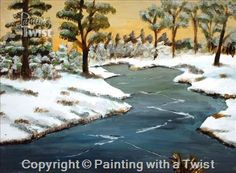 Winter's Beauty - Fort Wayne, IN Painting Class - Painting with a Twist