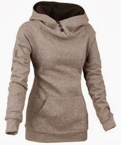 Casual Style Hooded Long Sleeve Front Pocket Design Women's Khaki Hoodie