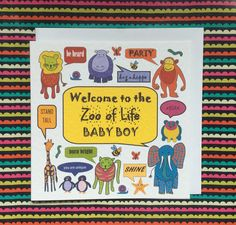 New baby boy card, zoo of life card, baby boy, welcome to the world, colourful baby card, animal baby card, zoo baby card by Designerpoems on Etsy