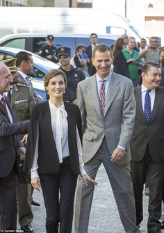 King Felipe VI and Queen Letizia leave the Cervantes Theater in Malaga after the ceremony ...
