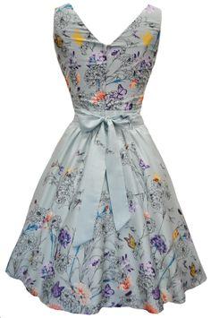 Mint Green Butterfly Floral Border Tea Dress - Lady Vintage - backview
