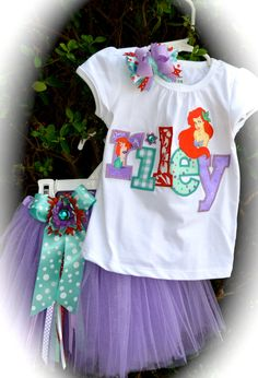 Custom Boutique Girls Disney Vacation Birthday ARIEL Tu Tu set Little Mermaid APPLIQUE Princess Personalized Shirt child's name Hair Bow. $68.00, via Etsy.