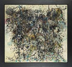 """Oswald Oberhuber, """"Zerstörte Formen"""", 1949, Leimfarbe, Öl und Lack auf Jute auf Holzfaserplatte."""