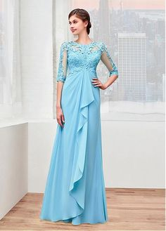 Alluring Chiffon Jewel Neckline A-line Mother Of The Bride Dress With Lace Appliques