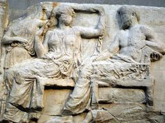 Zeus and Hera, marble relief from the Parthenon frize from ancient Athens - at the British Museum