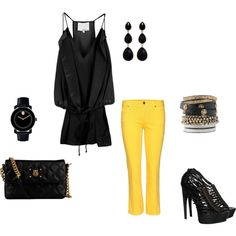 Summer Date Night - Black & Yellow ~ created by azorich on Polyvore