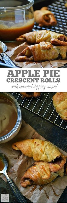 Apple Pie Crescent Rolls | by Life Tastes Good | Sweet cinnamon apple goodness tucked inside a buttery, flaky crescent roll and dipped in homemade caramel sauce leaves you feeling all warm and fuzzy! Perfect for Thanksgiving! #LTGrecipes #ThanksgivingDesserts #AppleRecipes Crescent Roll Apple Turnovers, Apple Pie Crescents, Crescent Roll Recipes, Crescent Rolls, Apple Recipes, Fall Recipes, Apple Desserts, Breakfast Recipes, Dessert Recipes