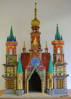 """A szopka (""""shope-ka""""),(nativity scene)  is a Polish Christmas tradition dating back to the 19th century. This one was created, over 40yrs ago,  by the late Adam Wleklinski, an artist who emigrated from Poland to Seattle, and was donated to the Seattle Polish Home Association. Artist Alisa Lahti is currently restoring it."""