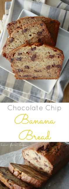 Quick and easy chocolate chip banana bread. Perfect use of those overripe bananas that are sitting on your counter or filling up your freezer.   livforcake.com