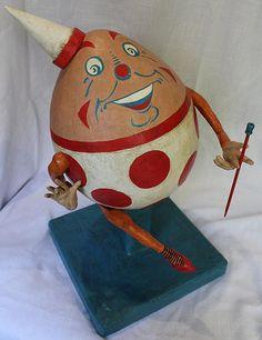 Paper mache clay Humpty Dumpty art doll