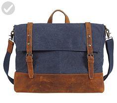 Canvas Messenger Bag Laptop,Berchirly Men's Vintage Leisure Briefcase Business Shoulder Bag Satchel Handbag for iPad, iPhone, MacBook, Notebooks, Documents, Journals - Little daily helpers (*Amazon Partner-Link)
