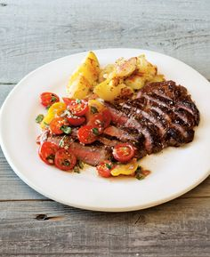 Pan-Fried Steak, Rosemary Potatoes, and Tomato Relish Always wanted a simple tomato relish recipe!