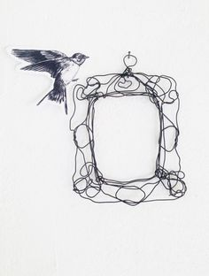 Marco de pared alambre - alambre de marco de metal cordón - regalo único - escultura - decoración de la boda