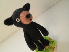 Needle Felted Black Bear Soft Sculpture by imaginaryfriends2012