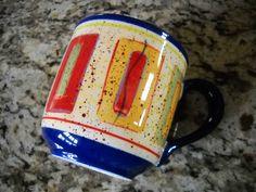 4 Pfatzgraff Sedona Design Large Coffee Soup Mugs Cups Multi Color Hand Painted | eBay