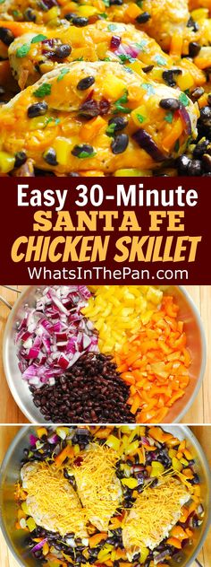 Easy, 30-Minute Santa Fe Chicken Skillet: chicken breasts with bell peppers, black beans, and Cheddar Cheese.  weeknight dinner recipe.