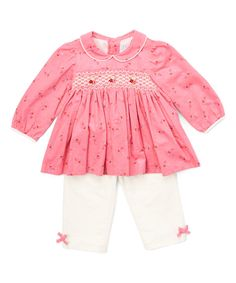 Look at this Pink Smocked Top & Ivory Leggings - Infant & Toddler on #zulily today!