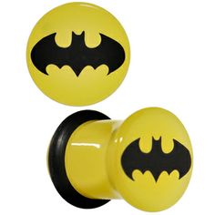 0 Gauge Officially Licensed Batman Yellow Single Flare Plug Set | Body Candy Body Jewelry
