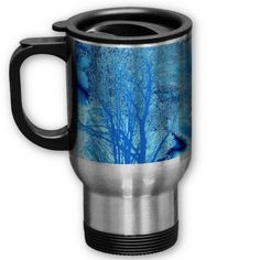 Blue Iced Tree Mug *personalize*  Pretty Tree in shades of blue and ice on this Mug. many varieties available. Add your name or favorite saying to Personalize it.