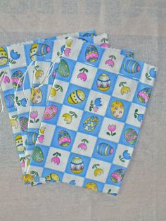 Large Easter Drawstring Gift Bags with Eggs and by acraftingheart