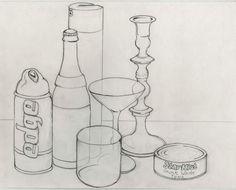 Contour Ellipse Still Life Drawing Easy Still Life Drawing, Easy 3d Drawing, Still Life Sketch, Still Life Art, Drawing Tips, Contour Line Drawing, Contour Drawings, Drawing Faces, Bottle Drawing