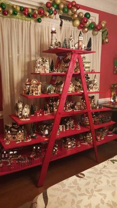 Creative Christmas DIY Decorations Easy and Cheap – Holiday Ladders Christmas Village Display, Christmas Town, Christmas Villages, Christmas Holidays, Ladder Christmas Tree, Christmas Mantles, Victorian Christmas, Christmas Christmas, Vintage Christmas