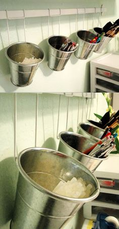 DIY Craft Room Ideas and Craft Room Organization Projects - Craft Room Bucket Organization - Cool Ideas for Do It Yourself Craft Storage - fabric, paper, pens, creative tools, crafts supplies and sewing notions Space Crafts, Home Crafts, Fun Crafts, Arts And Crafts, Craft Room Storage, Craft Organization, Storage Ideas, Pen Storage, Creative Storage