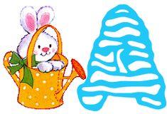Alfabeto de conejo en regadera.