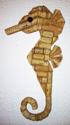 Seahorse wall hanging made from recycled corks