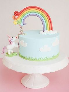 Buntes Rezept: Wir zeigen Dir, wie Du eine grandiose Einhorntorte selber gestaltest, Geburtstagstorte / recipe for the best birthday cake ever: colourful unicorn cake via DaWanda.com